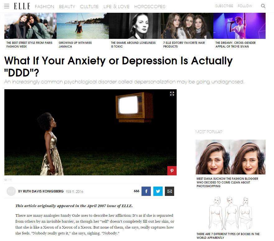 depersonalization articles